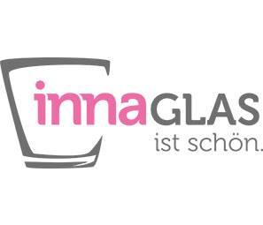 Deko Glasflaschen KAYRA auf Holztablett, 5 Gläser, klar, 23x23x16cm