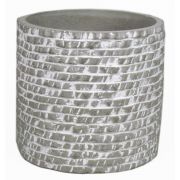 Runder Keramik Blumentopf SÖREN, Maueroptik, grau-weiß, 12,5cm, Ø14cm