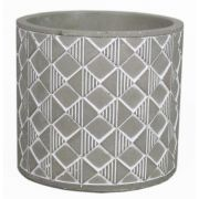 Runder Keramik Blumentopf SÖREN, Webmuster, grau-weiß, 12,5cm, Ø14cm