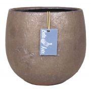 Runder Keramik Blumentopf PEYO, bronze, 11,5cm, Ø14cm