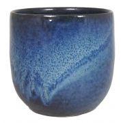 Pflanztopf RILIND aus Keramik, glänzend, space-blau, 13cm, Ø14cm