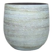 Blumentopf NAVID, Keramik, Maserung, hellblau-weiß, 21cm, Ø23cm