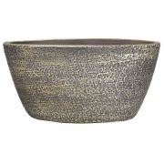 Ovaler Blumentopf NAVID, Keramik, Maserung, braun, 30x15x14cm