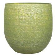 Blumentopf NAVID, Keramik, Maserung, grün-gelb, 14cm, Ø16cm