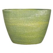 Ovaler Blumentopf NAVID, Keramik, Maserung, grün-gelb, 33x16,5x23cm