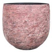 Blumentopf AGENOR aus Keramik, Hammerschlag, altrosa, 18cm, Ø20cm