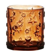 Votivkerzenhalter Glas MAIGA, Sterne, klar-braun, 8cm, Ø7cm
