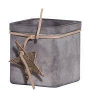 Maxi Teelichthalter SEAN aus Glas, mit Stern, grau-matt, 7,5cm, Ø7,5cm